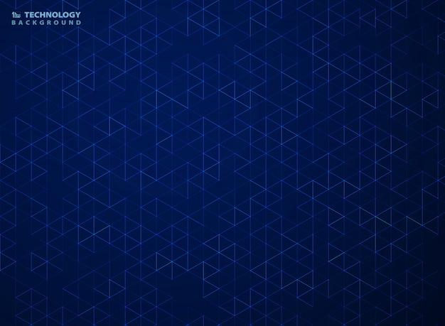 Modèle abstrait bleu à six pans creux de technologie fond géométrique