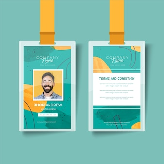 Modèle abstrait de cartes d'identité avec photo