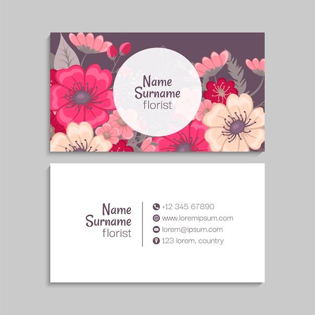 Modèle abstrait de cartes de visite avec des fleurs bleues