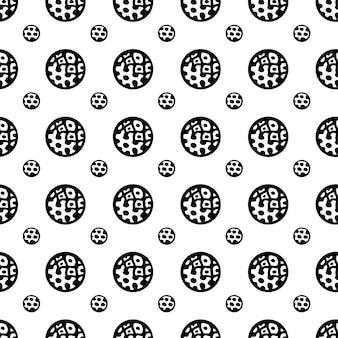 Modèle abstrait de cercles de doodle. couleurs noir et blanc.