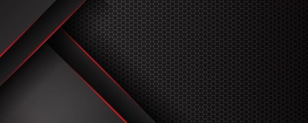 Modèle abstrait fond noir avec motif de triangles et lignes d'éclairage rouges. concept de design moderne de technologie sportive.