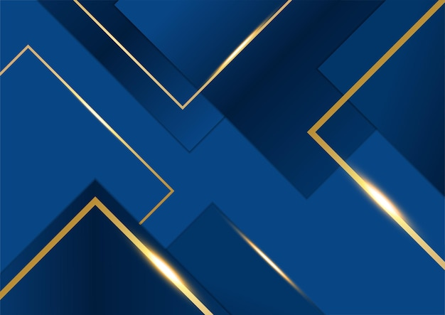Modèle abstrait fond premium de luxe bleu foncé avec motif de triangles de luxe et lignes d'éclairage dorées.