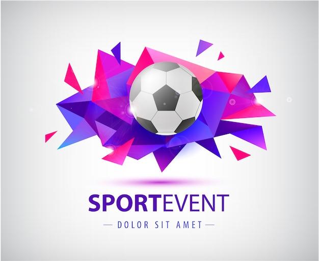Modèle abstrait de football pour couvertures de football, bannières, pancartes de sport, affiches et dépliants avec ballon. forme géométrique de facette isolée.