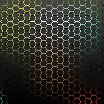 Modèle abstrait avec des hexagones colorés.