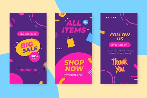 Modèle abstrait d'histoires de vente instagram