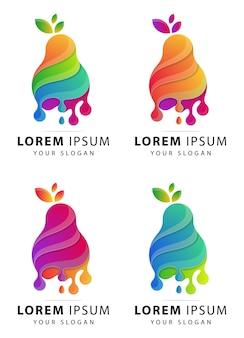 Modèle abstrait de logo fruits colorés