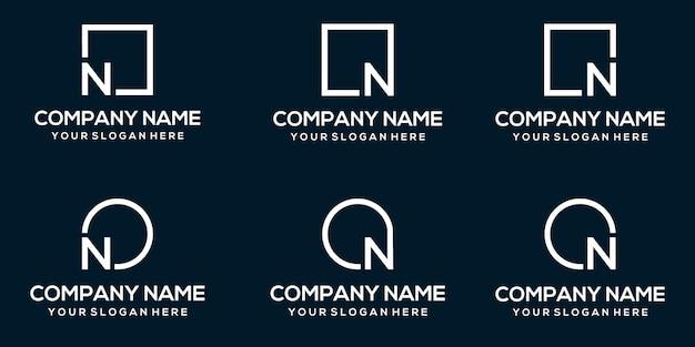 Modèle abstrait de logo vectoriel lettre n