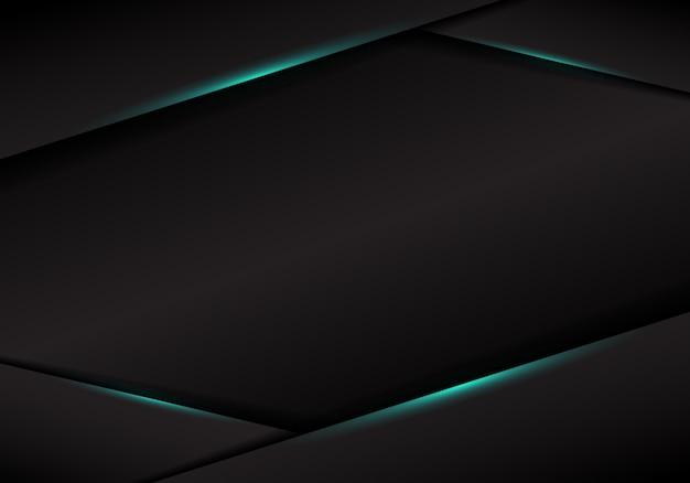 Modèle abstrait noir cadre mise en page métallique lumière bleue