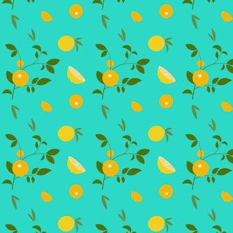 Modèle abstrait avec orange et feuilles sur fond bleu. illustration vectorielle.