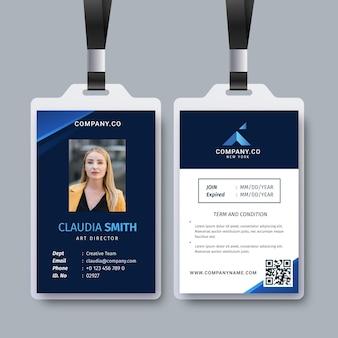 Modèle abstrait avec photo pour cartes d'identité