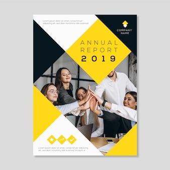 Modèle abstrait de rapport annuel avec photo