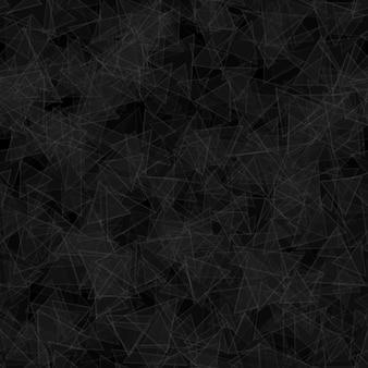 Modèle abstrait sans couture de triangles translucides distribués au hasard dans des couleurs noires et grises