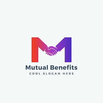 Modèle abstrait de signe, symbole ou logo d'avantage mutuel. poignée de main incorporée dans le concept de la lettre m.