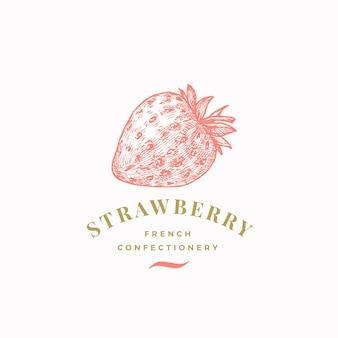 Modèle abstrait de signe, de symbole ou de logo de confiserie aux fraises.