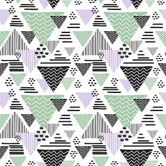 Modèle abstrait de triangle dessiné main sans soudure