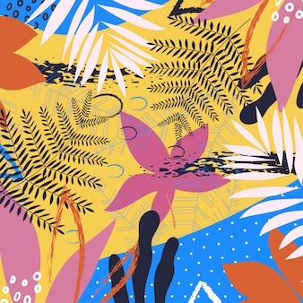 Un modèle abstrait tropical branché avec des feuilles et des plantes aux couleurs vives sur fond jaune