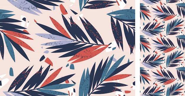 Modèle abstrait tropical sans couture avec des feuilles de palmier