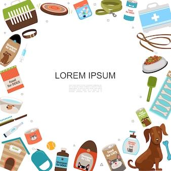 Modèle d'accessoires de magasin d'animaux plats