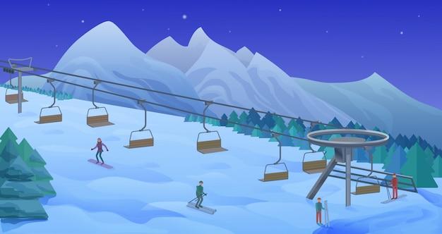 Modèle d'activité de loisirs d'hiver de nuit