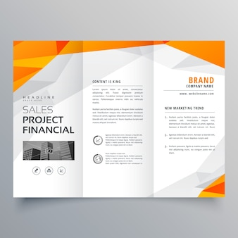 Modèle d'affaires abstrait orange trifold brochure design