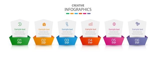 Modèle d'affaires de conception infographique avec 6 étapes