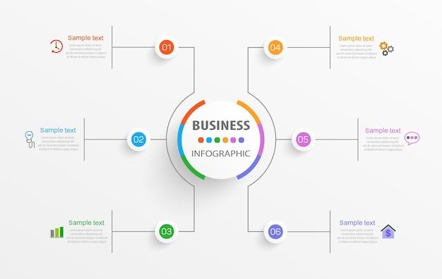 Modèle d'affaires de conception infographique avec 6 options