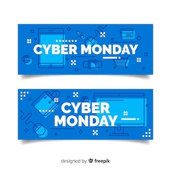 Modèle d'affaires cyber design plat lundi
