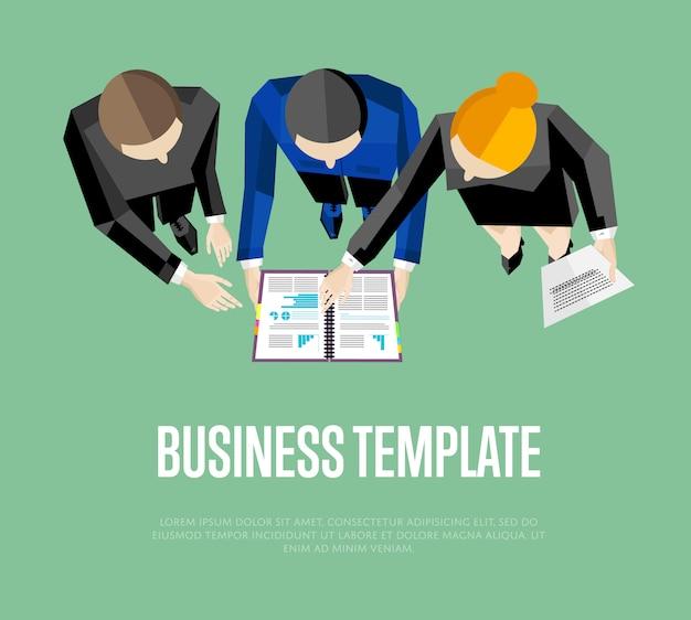 Modèle d'affaires. groupe de personnes de la vue de dessus