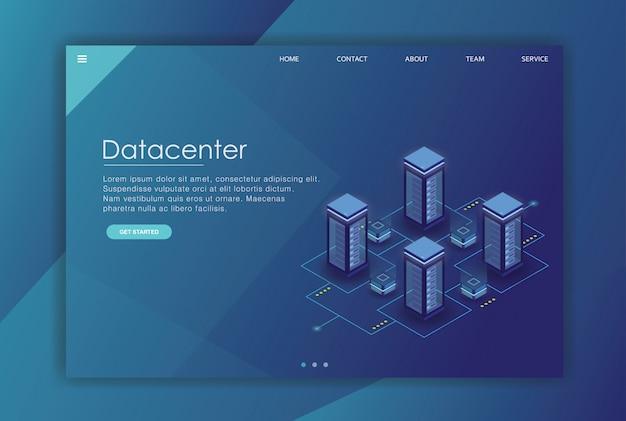 Modèle d'affaires de la page de destination des données isométriques