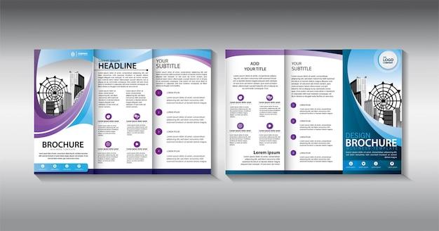 Modèle d'affaires à trois volets bleu brochure