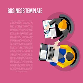 Modèle d'affaires. vue de dessus de l'espace de travail