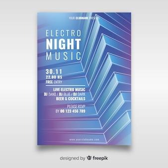 Modèle d'affiche 3d abstrait de musique électronique
