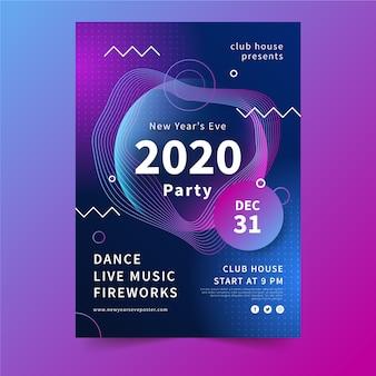 Modèle d'affiche abstrait parti nouvel an 2020