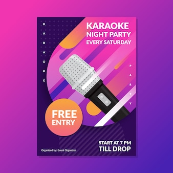 Modèle d'affiche abstraite karaoké