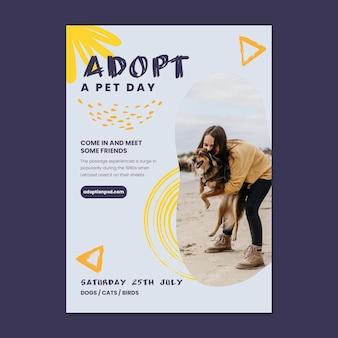 Modèle d'affiche d'adoption d'animaux de compagnie