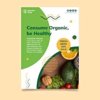 Modèle d'affiche d'aliments bio et sains
