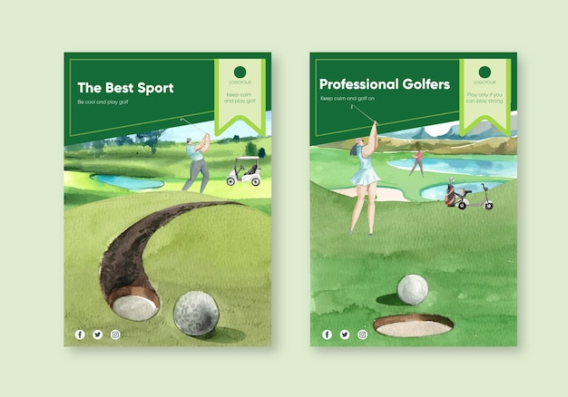 Modèle d'affiche avec amateur de golf dans un style aquarelle