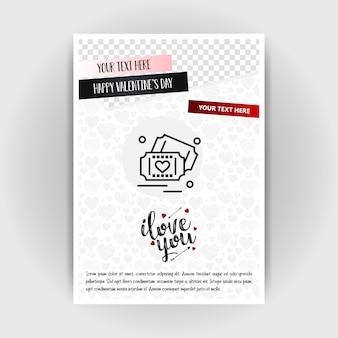 Modèle d'affiche d'amour de saint valentin. place pour images et texte, illustration vectorielle