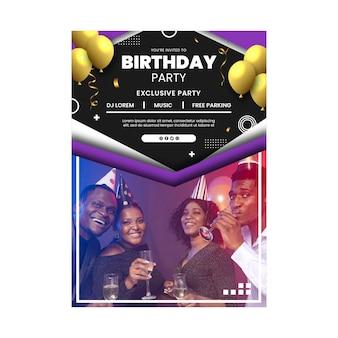 Modèle d'affiche d'anniversaire avec photo