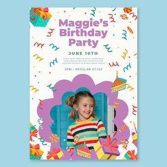 Modèle d'affiche d'anniversaire pour enfants