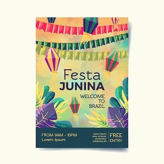 Modèle d'affiche aquarelle festa junina