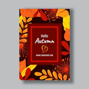 Modèle d'affiche automne vertical dessiné à la main