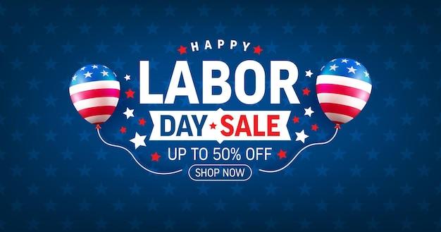 Modèle d'affiche et de bannière de vente de la fête du travail des états-uniscélébration de la fête du travail des états-unis avec le drapeau américain des ballons