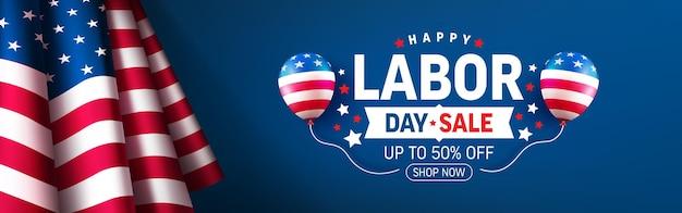 Modèle d'affiche et de bannière de vente de la fête du travail des états-uniscélébration de la fête du travail des états-unis avec le drapeau américain sur bleu