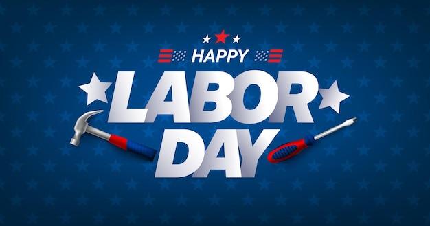 Modèle d'affiche et de bannière de vente de la fête du travail des états-uniscélébration de la fête du travail des états-unis avec un marteau et un tournevis