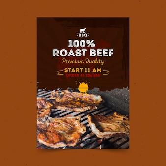 Modèle d'affiche barbecue avec photo