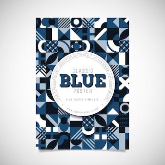 Modèle d'affiche bleu abstrait