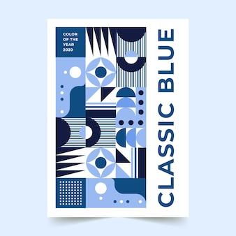 Modèle d'affiche bleu classique abstrait