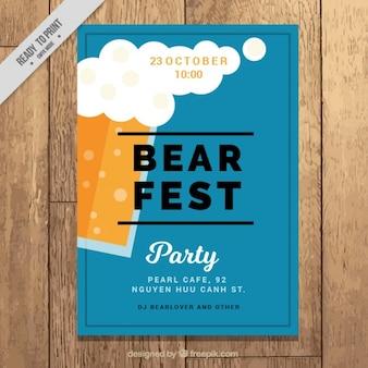 Modèle d'affiche bleu pour une fête de la bière