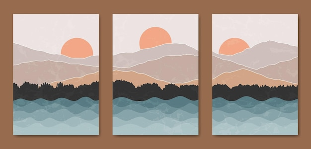Modèle d'affiche boho paysage moderne abstrait du milieu du siècle.